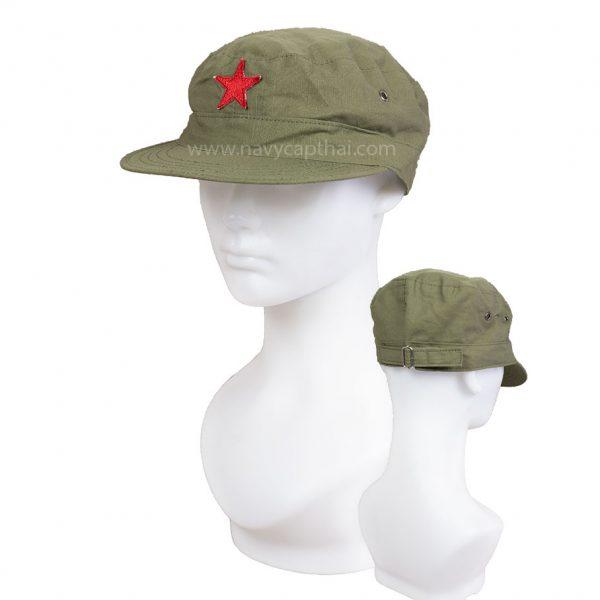 หมวกดาวแดงสีเขียวขี้ม้า