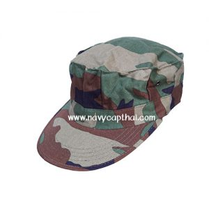 หมวกทหารทรงแปดเหลี่ยมลายพราง WOODLAND