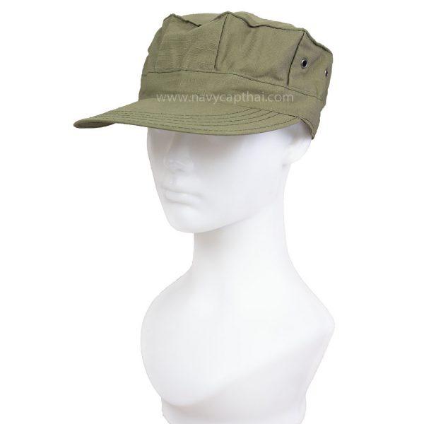 หมวกทหารทรงแปดเหลี่ยมเขียวขี้ม้า