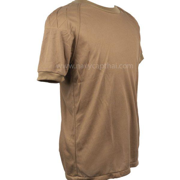 เสื้อยืดบุไหล่แขนสั้นสีน้ำตาล