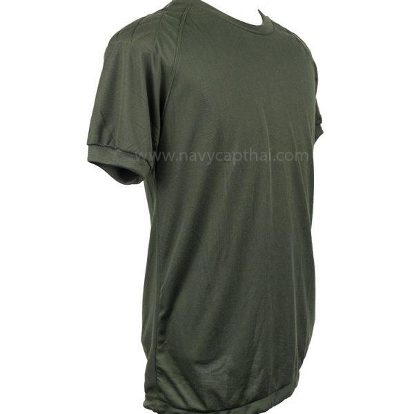 เสื้อยืดบุไหล่แขนสั้นสีเขียวขี้ม้า