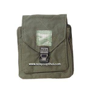กระเป๋าสี่เหลี่ยมร้อยเข็มขัดสีเขียวขี้ม้า
