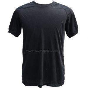 เสื้อยืดบุไหล่สีดำ