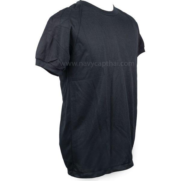 เสื้อยืดบุไหล่แขนสั้นสีดำ