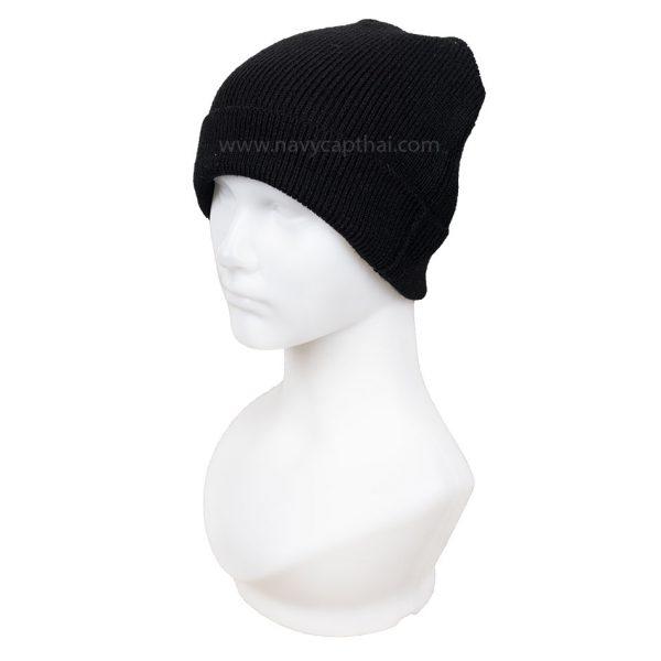 หมวกไหมพรมครึ่งหัวสีดำ