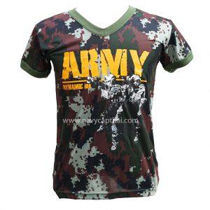 เสื้อยืดลายพรางคอวีสกรีน ARMY