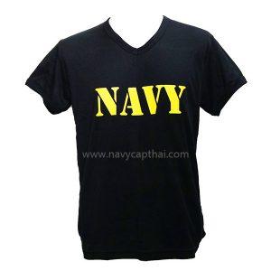 เสื้อยืด NAVY สีดำคอวี