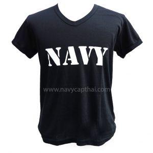 เสื้อยืด NAVY คอวีสีดำสกรีนขาว