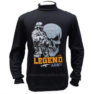 เสื้อยืด THE LEGEND ARMY สีดำแขนยาว
