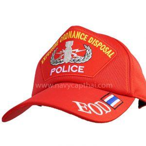 หมวกแก๊ป EOD POLICE สีแดง