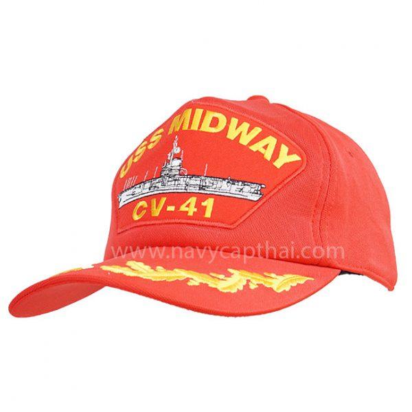 หมวกแก๊ป USS MIDWAY 1 ช่อสีแดง