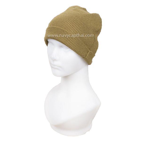 หมวกไหมพรมครึ่งหัวสีทราย