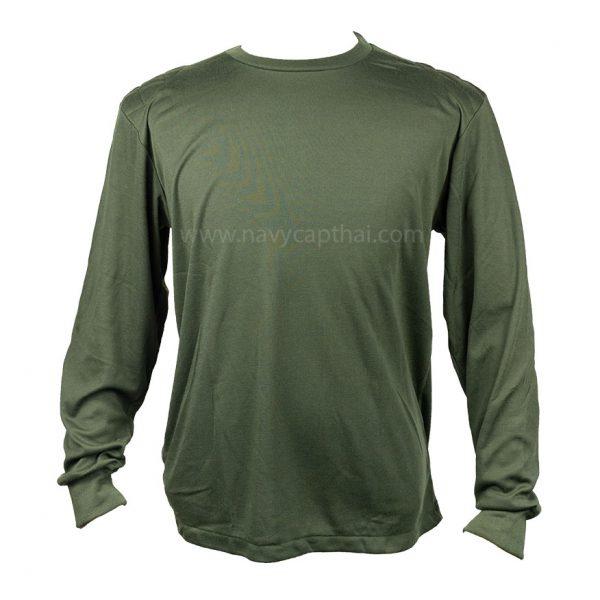 เสื้อยืดบุไหล่แขนยาวสีเขียวขี้ม้า