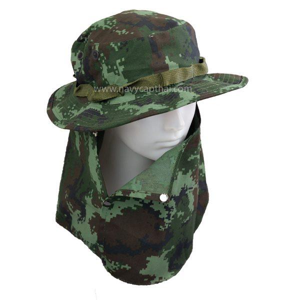 หมวกปีกรอบลายดิจิตอลทหารบกมีผ้าปิด