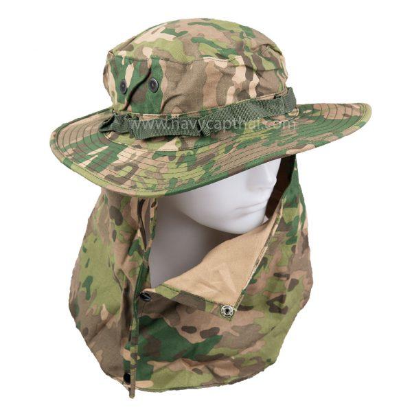 หมวกปีกรอบลายมัลติแคมมีผ้าปิด