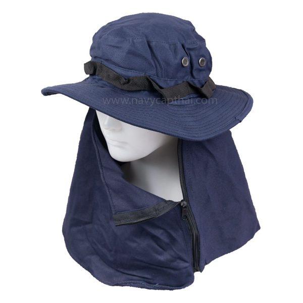 หมวกปีกรอบสีกรมท่ามีผ้าปิด
