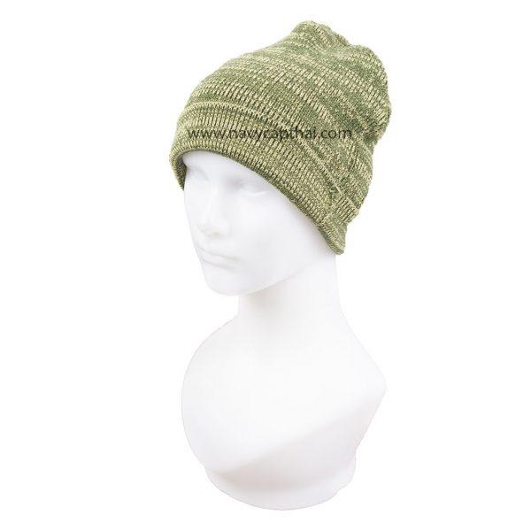 หมวกไหมพรมครึ่งหัวลายเขียวอ่อน