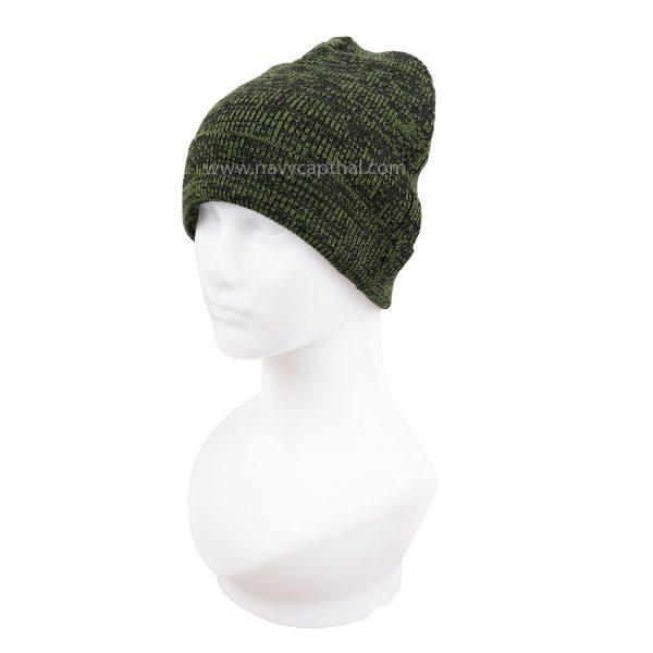 หมวกไหมพรมครึ่งหัวลายเขียว