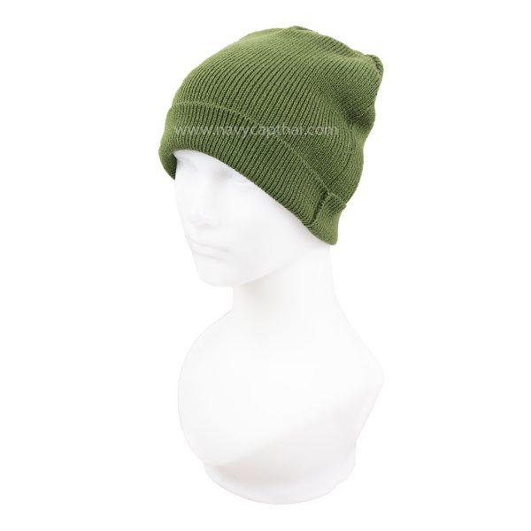 หมวกไหมพรมครึ่งหัวสีเขียว