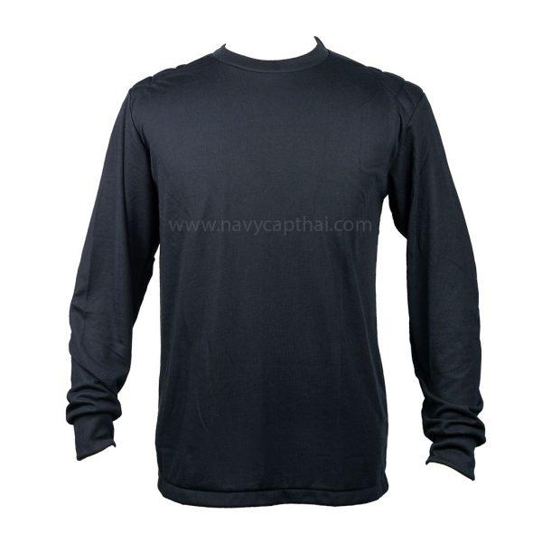 เสื้อยืดบุไหล่แขนยาวสีดำ