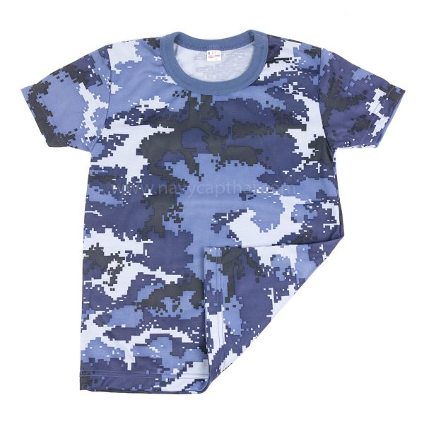 เสื้อยืดเด็กพรางดิจิตอลฟ้า