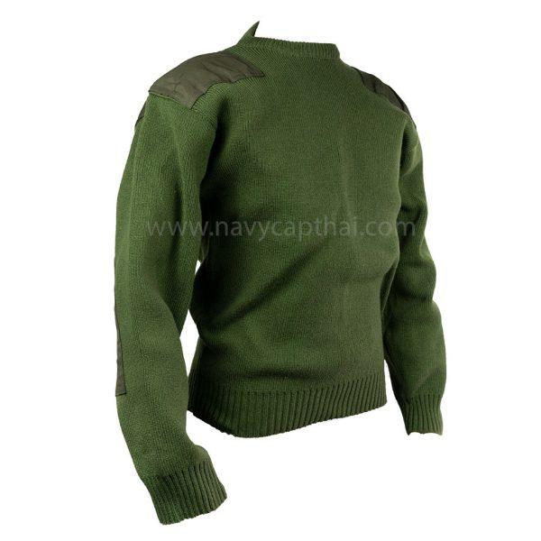 เสื้อไหมพรมสีเขียวแขนยาวเอวจั๊ม